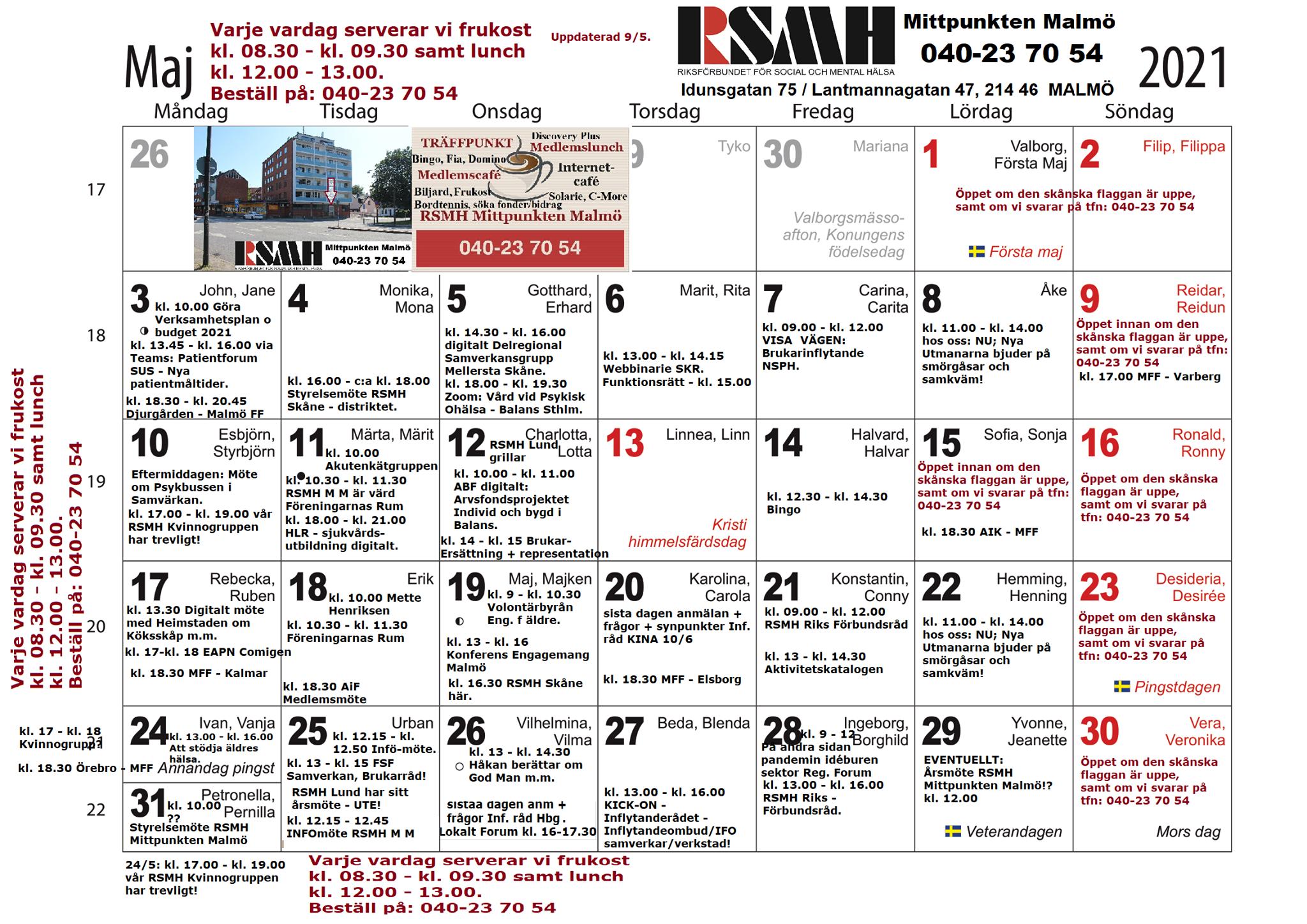 Vecka 19: MAJ-MENY RSMH MITTPUNKTEN MALMÖ OBS! HELST avhämtning! 10 - 14 maj, kl. 12.00 eller 12.45. Kom in för gemenskap / kamratstöd / återhämtning! Måndag 10/5: Köttfärssås med ost och pasta. Tisdag 11/5: Grillad lax i ugn, potatismos med dill och fisksås. Onsdag 12/5: Ugnsbakad fläskytterfilé med klyftpotatis och bearnaisesås. Torsdag 13/5: Ostgratinerad kassler med crème fraiche, ananas, chilisås och ris. Fredag 14/5: Vegetarisk måltid med äggnudlar, wokgrönsaker, vegobitar; -färs samt efterrätt! (Kött sidan om på extra tallrik?) Medlemspris, endast 35 kronor per portion. Bokas innan, senast samma dag kl. 10.00, på 040-23 70 54 alt. 0735-63 90 70. Swish 123 062 71 74 eller Zettle/PayPal bankkort, kontant på plats! OBS! Vi har HELST avhämtning! Idunsgatan 75, buss: 1 + 32 + 35 + 141, hållplats Sofielund. Hjärtligt välkomna Chanbol samt Rollan, Jeanette & Stefan m.fl.