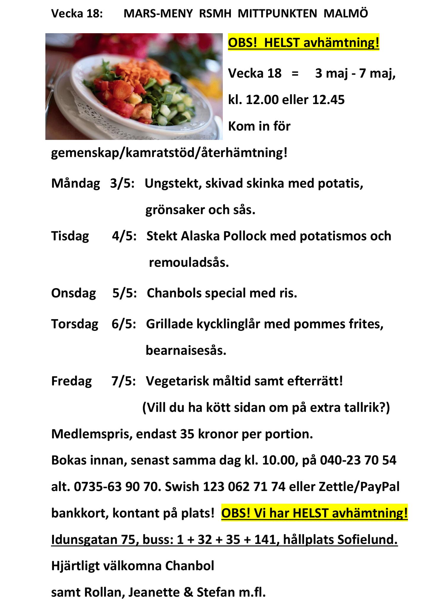 LUNCH-MENY 35 kronor i Malmö