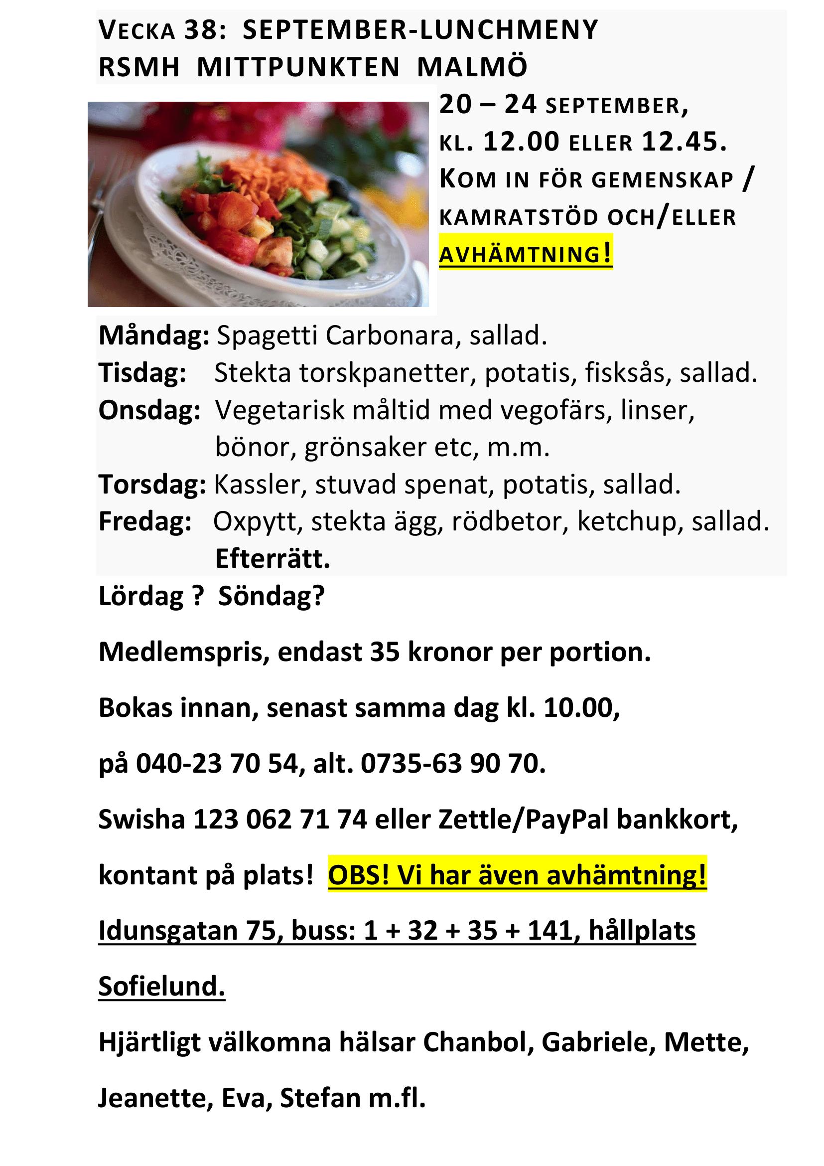 Lunchmeny vecka 38 20 – 24 september, kl. 12.00 2021 RSMH Mittpunkten Malmö - Idunsgatan 75 i Malmö-1.png