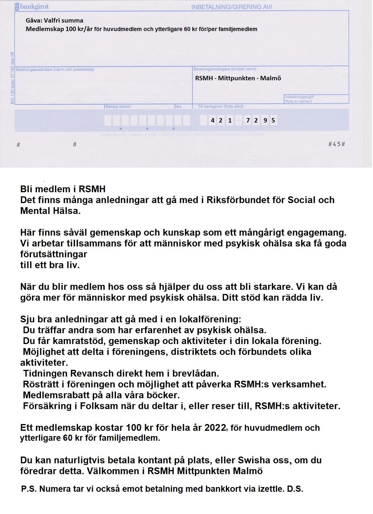 Medlemskap i RSMH Mittpunkten Malmö resterande av 2021 + hela 2022 = 100 kronor bg inbetalningskort.png